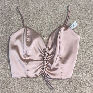 Champagne Colored Satin Tie-Up Crop-Top